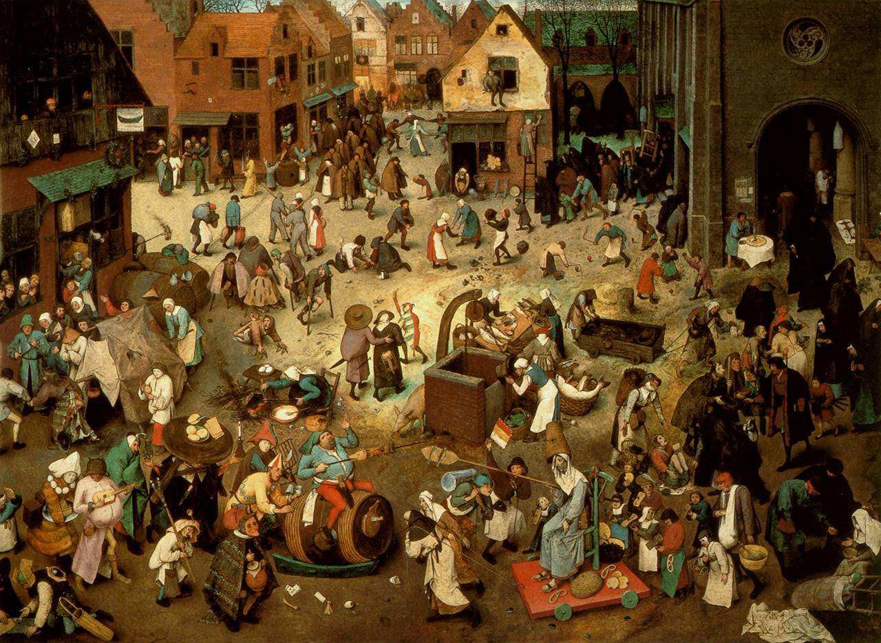 Der Kampf wischen Karneval und Fasten, Pietre Bruegel il Vecchio, 1559, Kunsthistorisches Museum, Vienna.