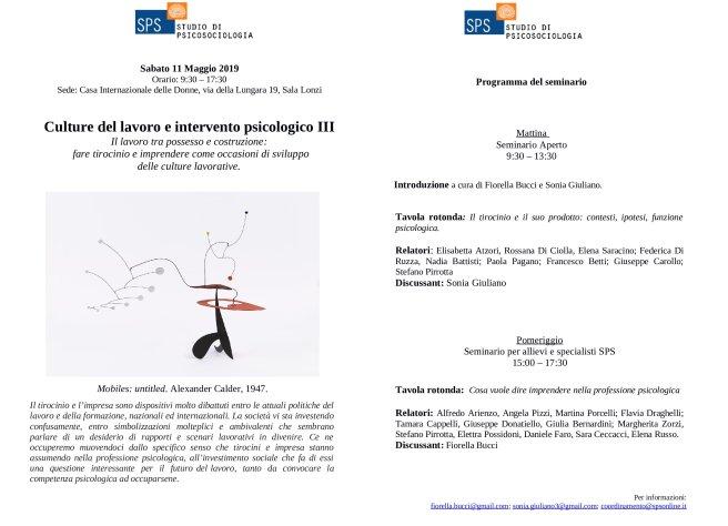 Locandina Seminario Culture Lavoro III 11 Maggio 2019_